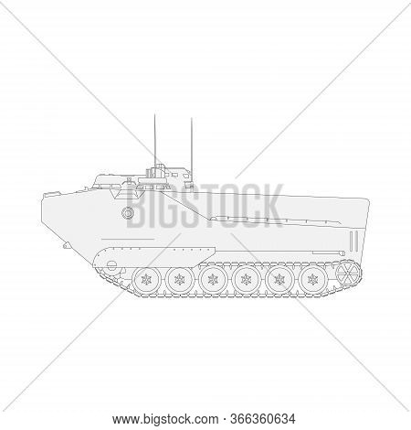 Tank Isolated On White Background. Vector Military Machine. Tank Logotype.