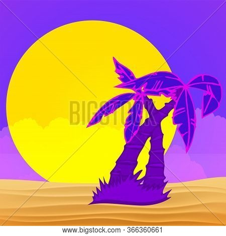 Evening On The Beach With Palm Trees. Colorful Picture For Rest. Lilac Palm Trees, Bright Big Sun An