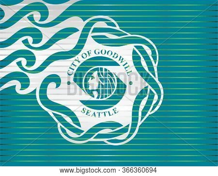 Shiny Grunge Flag Of The Seattle - Illustration,  Three Dimensional Flag Of Seattle