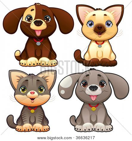 Cute dogs and cats. Funny cartoon and vector animal characters, isolated objects.