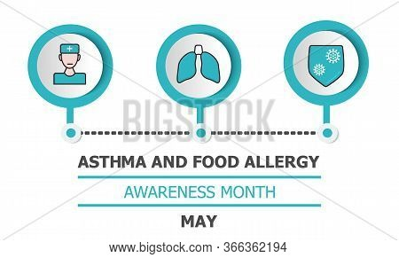 Asthma And Food Allergy Awareness Month Is Celebrated In Usa In May. Asthmatic Info-graphic Vector F
