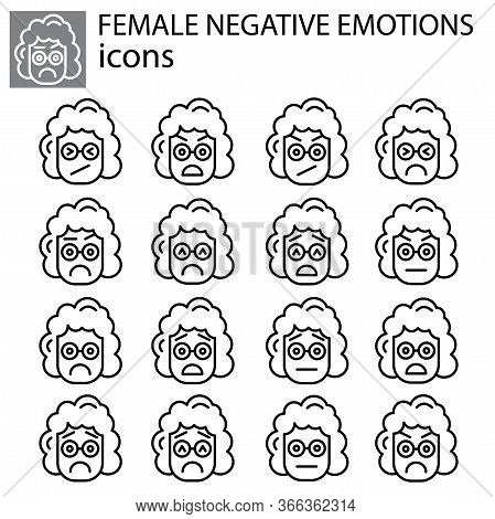 Negative Emotions Set Vector Linear Female, Girl Icon. Negative Facial Expression Emoticon Vector Si