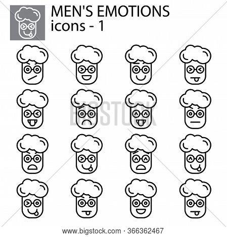 Creative Vector Icon Set - Boy, Man Emoticons. Set Of Icons: Different Emotions. Vector Icons Of  Fa