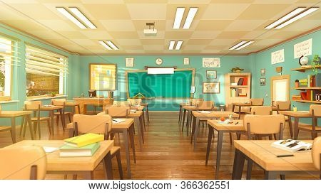 Empty School Classroom In Cartoon Style. Education Concept Without Students. 3d Rendering Interior I