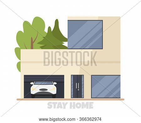 Vector Illustration Of Modern Big Cottage House With Car In Garage Isolated. Concept Idea Of Real Es