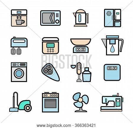 Kitchen Appliances, Icons, Set, Contour, Color.home Electrical Appliances. Colored Flat Icons With A