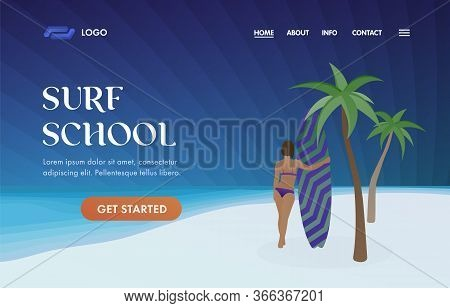 Surf School Ui Ux Vector Web Template Illustration For Surfing Station, Sports Camp Landing Page. Su