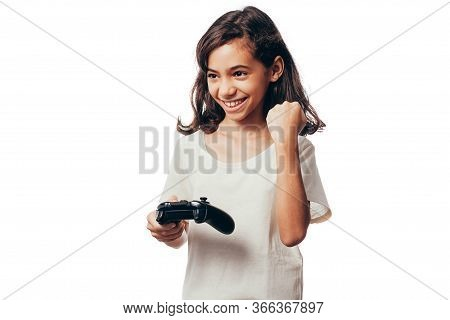 Child Girl Playing Video Game Isolated On White Background