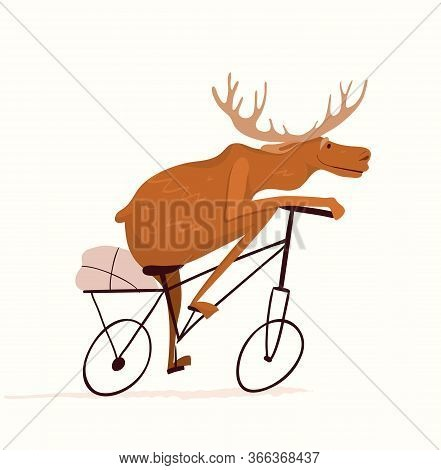 Moose Riding Bicycle Design For Kids, Nursery Design, Cycling Or Racing Symbol. Funny And Cute Anima