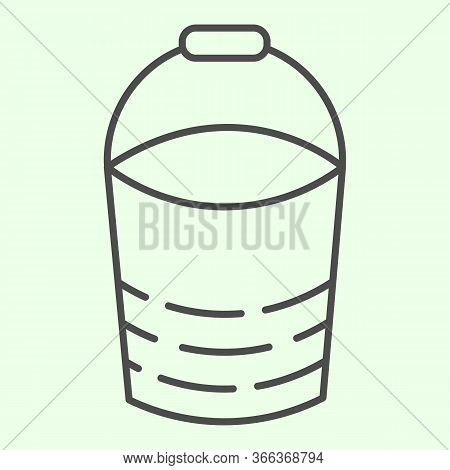 Bucket Thin Line Icon. Building Or Domestic Bucketful Outline Style Pictogram On White Background. H