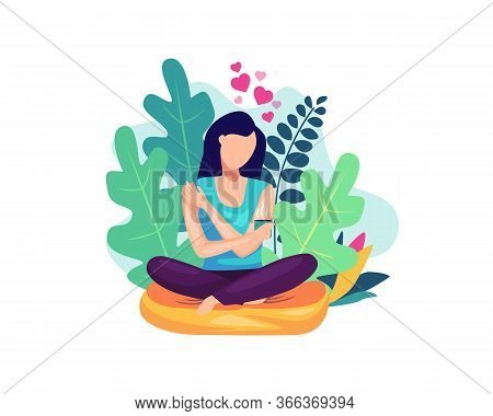 Vector Illustration Self Care Concept. Woman Hugging Herself With Holding A Cup Of Coffee, Happy Wom