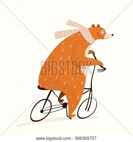 Brown Bear Riding Bicycle Funny Circus Design For Kids, Nursery Design, Cycling Or Racing Symbol. Sw