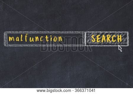Concept Of Looking For Malfunction. Chalk Drawing Of Search Engine And Inscription On Wooden Chalkbo