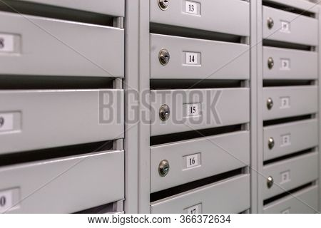 Mailboxes On The Landing Of Russian Condominium - Close-up View With Selective Focus And Linear Pers