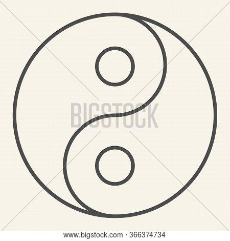 Yin Yang Thin Line Icon. Harmony And Balance Symbol, Outline Style Pictogram On Beige Background. Yi