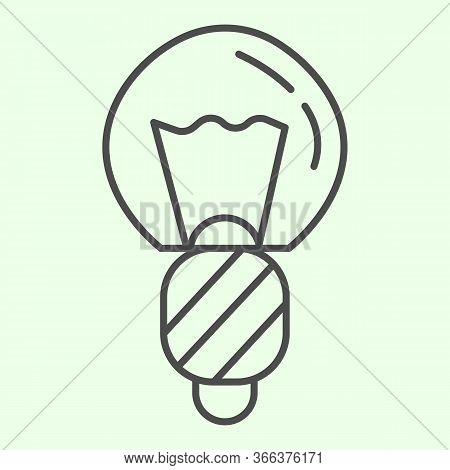 Light Bulb Thin Line Icon. Electric Illumination Halogen Lamp Outline Style Pictogram On White Backg