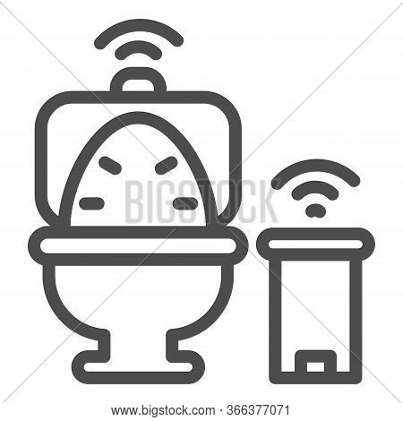 Smart Toilet And Garbage Can Line Icon, Smart Home Symbol, Remote Control House Technology Vector Si
