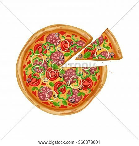Pizza With Different Ingredients. Top View Pizza. Fresh And Juicy Restornana Pizza. Pizza With Slice