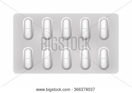 Tablet Plate. Medical Pills. 3d Drugs Medicine Capsules And Vitamins, Healthcare Pharmacy Tablets.