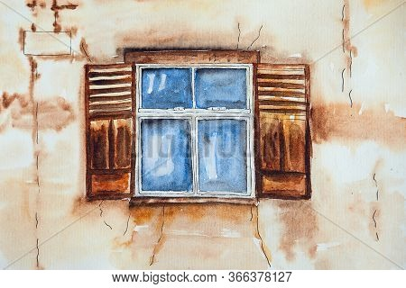 Watercolor Drawing Of The Old Window. Illustration Of Ancient Window. The Old Wall.