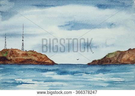 Watercolor Drawing Of Dark Blue Water And Some Rocks. Illustration Of Sea Or Ocean. Landscape With T