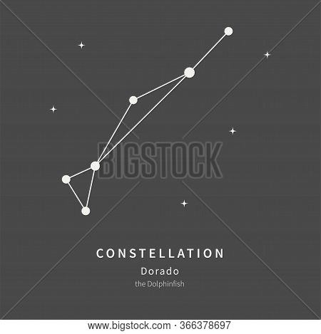 The Constellation Of Dorado. The Dolphinfish - Linear Icon. Vector Illustration Of The Concept Of As
