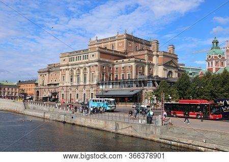 Stockholm, Sweden - August 23, 2018: People Walk By Royal Swedish Opera In Stockholm City. Stockholm