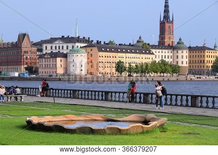 Stockholm, Sweden - August 23, 2018: People Enjoy Gamla Stan (old Town) Skyline View In Stockholm, S