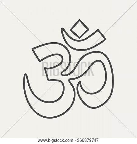 Linear Om Sign Isolated On White Background. Sacral Symbol Of Hinduism, Buddhism Or Vedic Tradition.