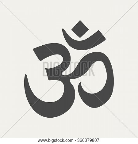 Om Sign Isolated On White Background. Sacral Symbol Of Hinduism, Buddhism Or Vedic Tradition. Vector