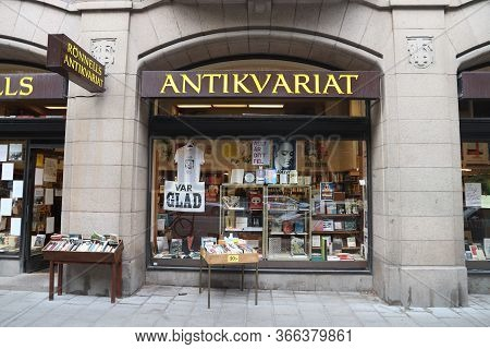Stockholm, Sweden - August 23, 2018: Antique Shop Ronnells Antikvariat In Stockholm, Sweden. Stockho