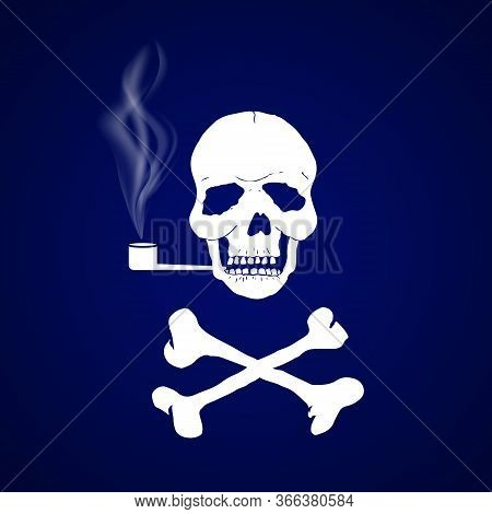 Skull With Crossbones Smokes A Pipe On A Dark Background. Curls Of Tobacco Smoke. Sign Of The Pirate
