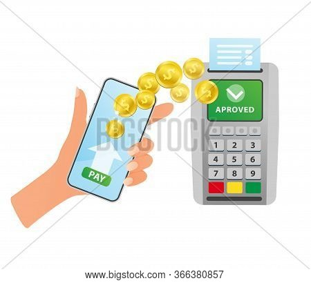 Nfc Terminal. Payment By Smartphone. Vector Illustration Isolated.