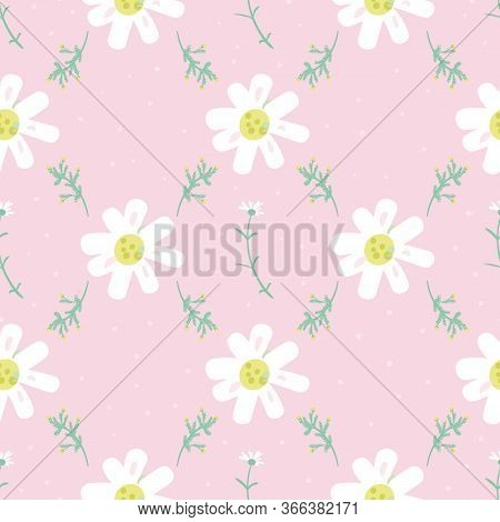 Daisies Grid Seamless Vector Pattern In Pastel Colors. Decorative Girly Surface Print Design. Delica