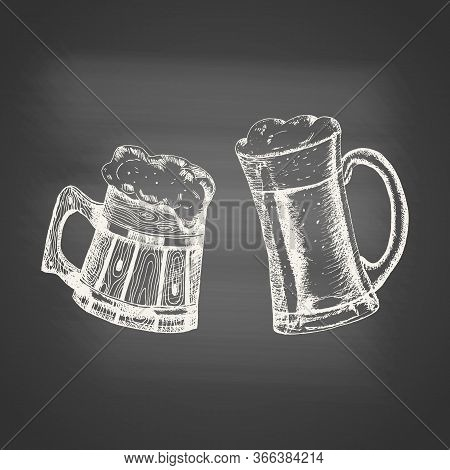 Glass And Wooden Mugs With Beer And Beer Foam Overflowing Over The Edge On Chalkboard. Hand Drawn Sk