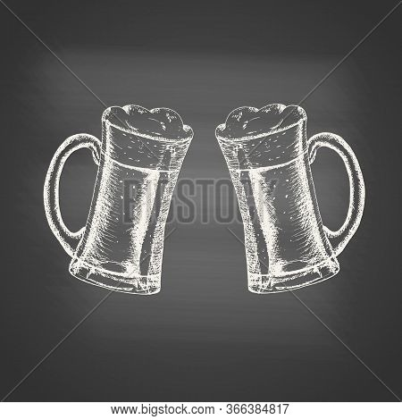 Glass Mugs With Beer And Beer Foam Overflowing Over The Edge - Chalk Drawing On The Blackboard. Hand