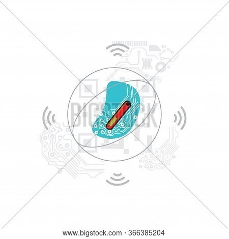 Chipping Concept Illustration. Human Monitoring Chip. Control Gadget
