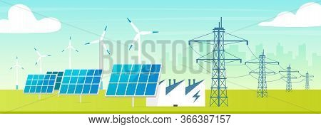 Alternative Power Station Flat Color Vector Illustration. Eco Friendly Facility 2d Cartoon Landscape