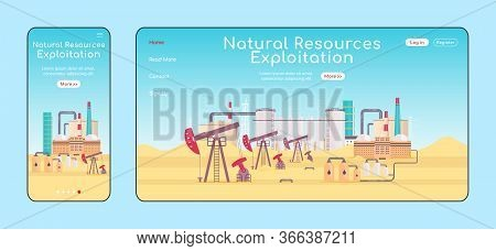 Natural Resources Exploitation Adaptive Landing Page Flat Color Vector Template. Refinery Plant Mobi