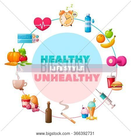 Healthy Unhealthy Lifestyle Circular Cartoon Compositions With Gym Vitamins Vegetables Vs Drugs Junk