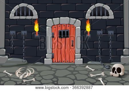 Cartoon Doors Composition With View Of Scary Dungeon With Torches Human Bones Skull And Chain Fetter