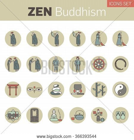 Set Of Zen Buddhism Icons. Activities Of Zen Buddhist Monks And Nuns In The Monastery. Main Buddhist