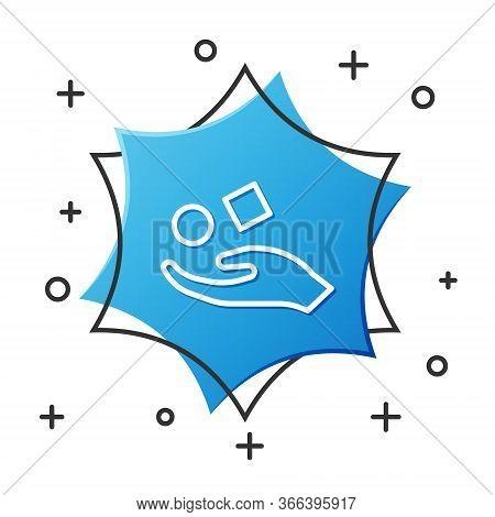 White Line Cube Levitating Above Hand Icon Isolated On White Background. Levitation Symbol. Blue Hex