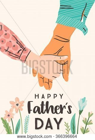 Happy Fathers Day. Vector Illustration. Man Holds The Hand Of Child.
