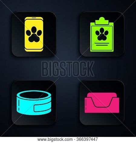 Set Pet Bed, Online Veterinary Clinic Symbol, Canned Food And Clipboard With Medical Clinical Record