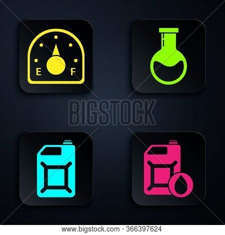 Set Canister For Motor Machine Oil, Motor Gas Gauge, Canister For Gasoline And Test Tube And Flask.