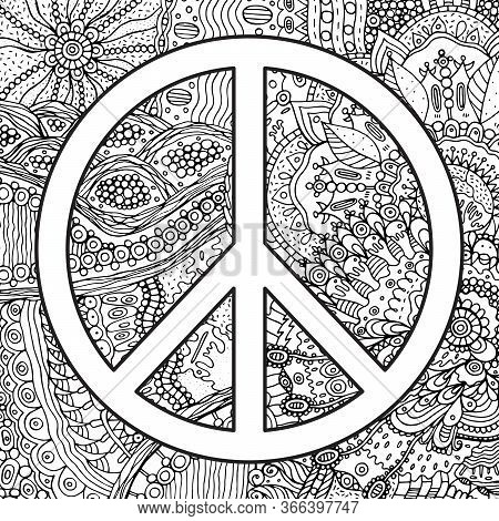 Pacific Symbol - Hippie 60s Festival Poster. Psychedelic Coloring Page For Adults. Vector Design. Re