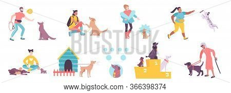 Dog Breeding Training As Companion Blind People Assistant And Service Animal 9 Isolated Flat Composi