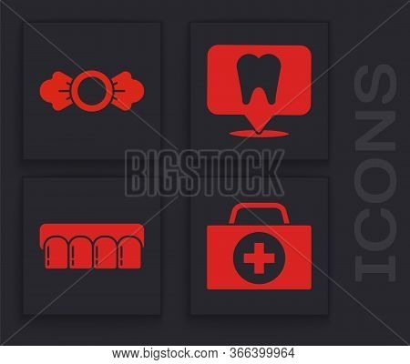 Set First Aid Kit, Candy, Dental Clinic Location And Dentures Model Icon