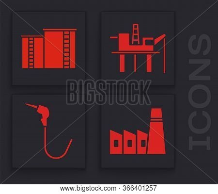 Set Oil Industrial Factory Building, Oil Industrial Factory Building, Oil Platform In The Sea And Ga